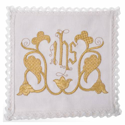 Altar linens set, 100% linen, IHS and decorations s1