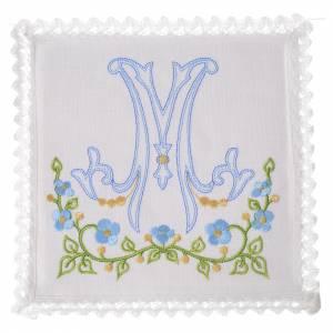 Altar linens: Altar linens set, 100% linen with Marian M