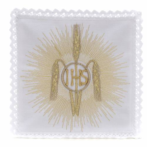 Altar linens, set of 4, 100% linen, IHS, whey and rays symbol 1