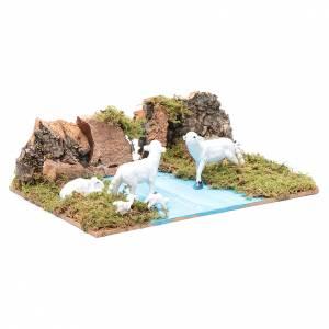 Ambientazione per presepe con pecore 5x20x15 cm s3