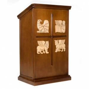 Atriles con columna: Ambón madera de nogal símbolo 4 evangelistas