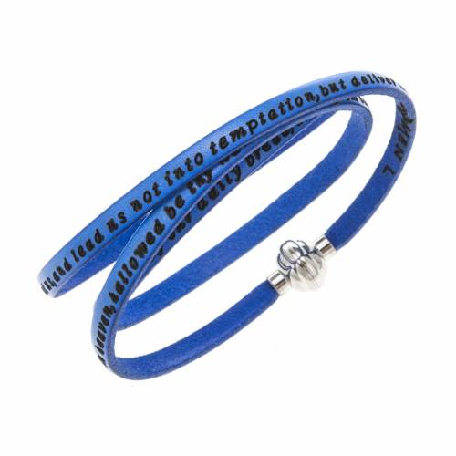 Amen Bracelet in blue leather Our Father ENG s1