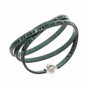 Amen Bracelet in green leather Hail Mary ENG s1