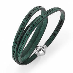 AMEN bracelets: Amen Bracelet in green leather Hail Mary ITA