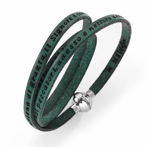 Amen Bracelet in green leather Hail Mary ITA s1