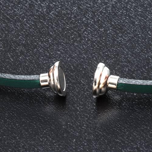 Amen Bracelet in green leather Hail Mary LAT s2