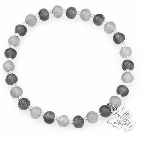 Amen bracelet in grey Murano beads 6mm, sterling silver s1