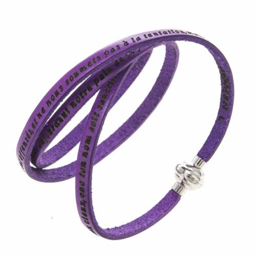Amen Bracelet in purple leather Our Father FRA s1