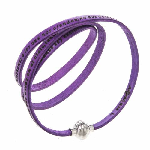 Amen Bracelet in purple leather Our Father SPA s1
