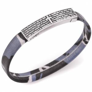 Amen bracelet, Our Father plate in Italian, blue s1
