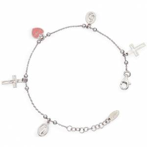 Amen bracelet with charms, Jesus, Our Lady, Pink heart, sterling s1