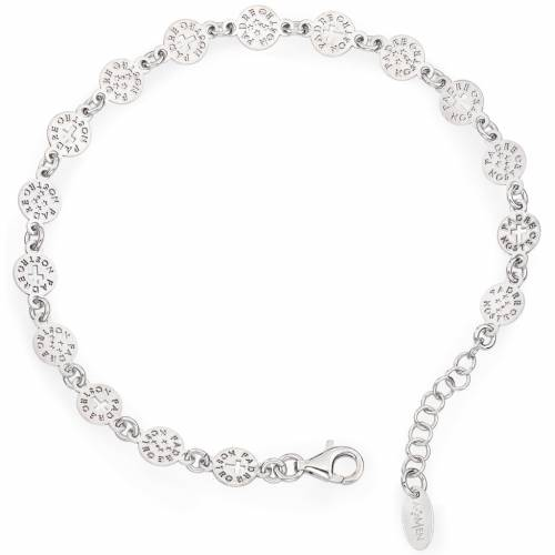 Amen bracelet with Our Father cross in sterling silver s1