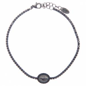 Gold and silver bracelets: Amen tennis bracelet with black zircons and Miraculous medal