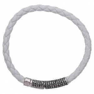 AMEN bracelets: AMEN white leather bracelet Our Father