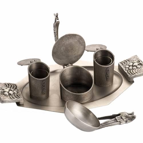 Ampoules huiles saintes en bronze argenté s4