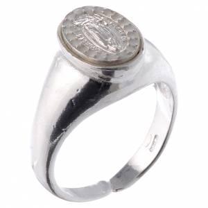 Anello argento 800 Medaglia Lourdes bianco regolabile s1