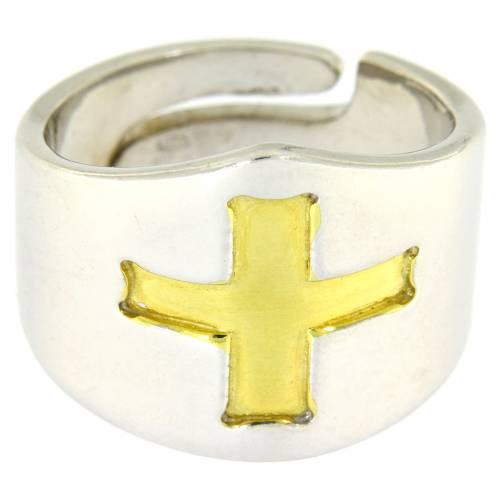 Anello Vescovile croce Argento 925 bicolore s2