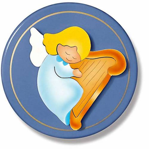 Ange avec harpe sur rond bleu s1