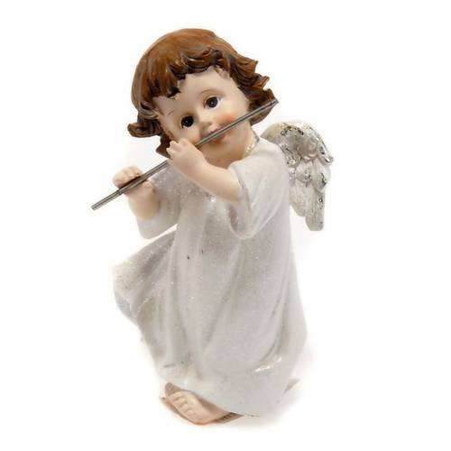 Ange blanc avec flûte traversière 14 cm s1