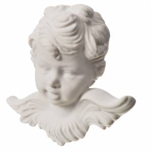 Angel head, 11 cm bas-relief in recontituted carrara marble s2
