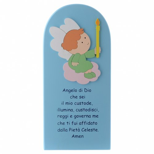 Angel of God shovel in light blue wood 30x10 cm s1