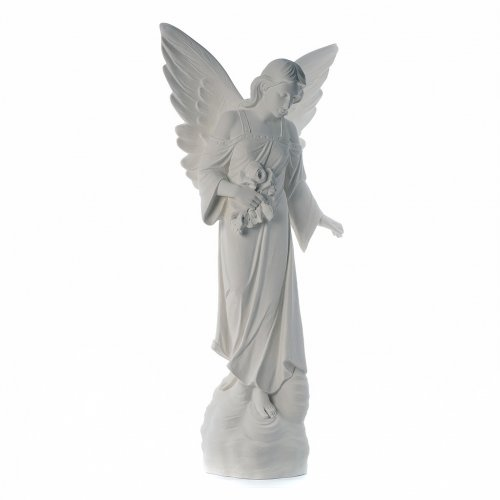 Angel with flowers in reconstituted marble, 100 cm s4