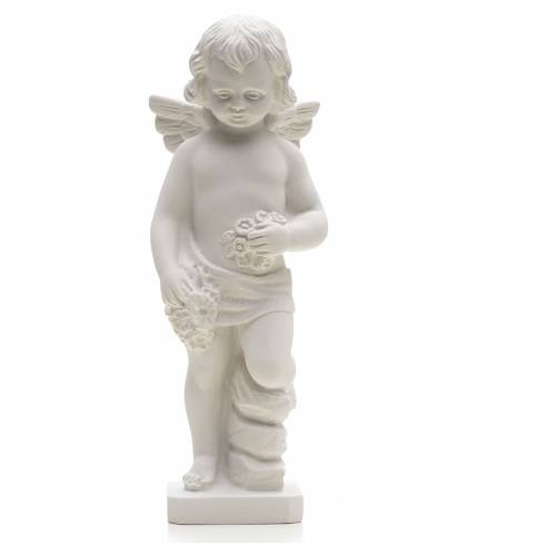 Angel with flowers in reconstituted white marble 25-30 cm s1