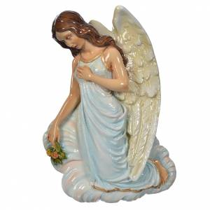 Angel with flowers, light blue in reconstituted marble 25cm s1