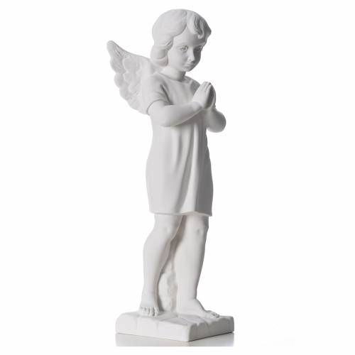 Angel with hands joined in reconstituted white Carrara marble s4