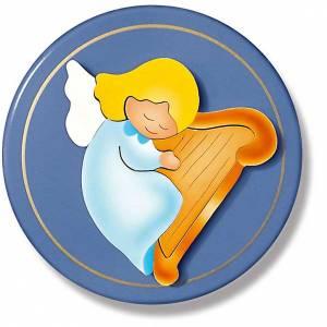 Angel with harp blue tondo s1
