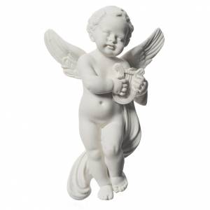 Angel with Lyre bas-relief in reconstituted carrara marble, 14cm s1
