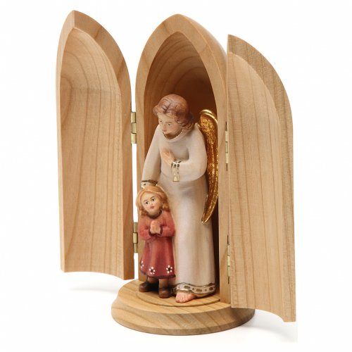 Angel with young girl in niche wooden statue painted s3