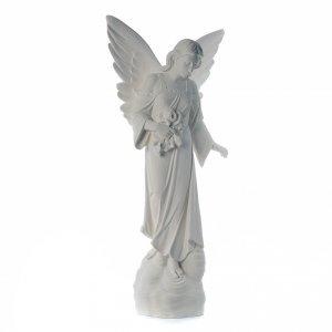 Angelo con fiori cm 100 marmo bianco s4