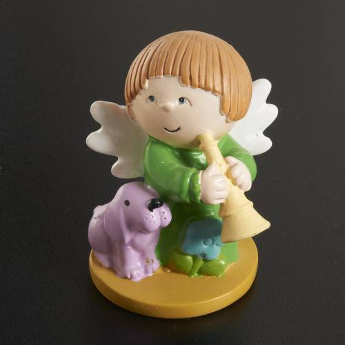 Angels in resin with animals and instruments, 4 pieces s3