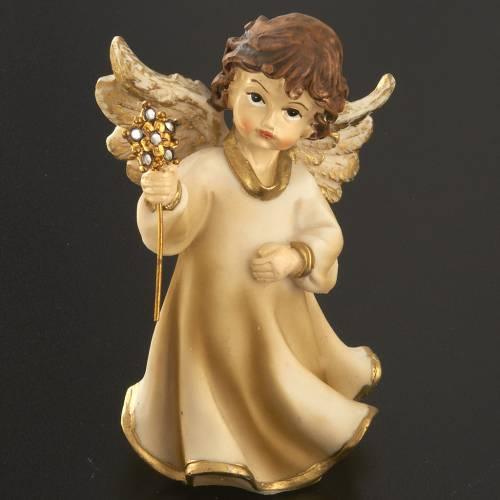 Angels in resin with flower, 4 pieces 12cm s4