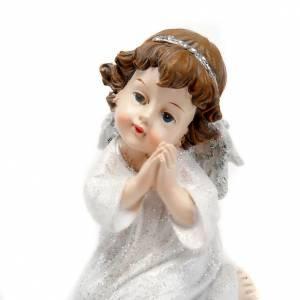 Angioletto in preghiera bianco argentato con glitter s4