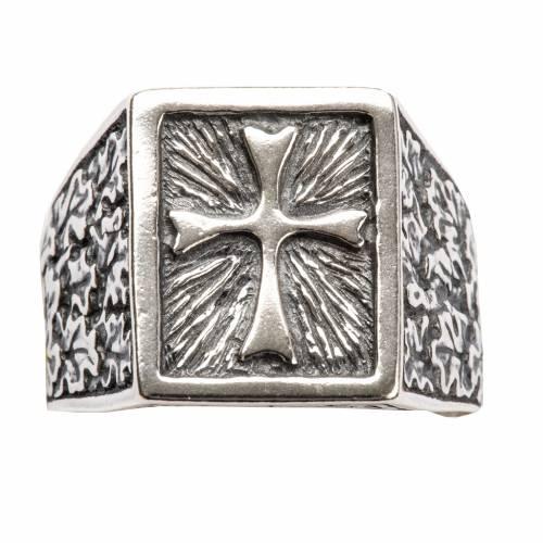 Anillo obispal  de plata 800, cuadrado con cruz s4