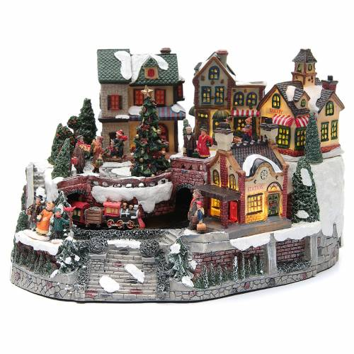 Animated Christmas village with train 35x25x20 cm | online sales ...