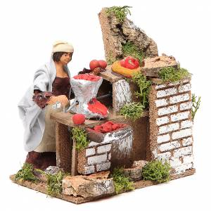 Animated nativity figurine 10cm woman with tomatoes s3