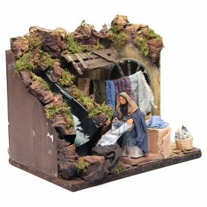 Animated Nativity scene figurine, laundress 12 cm s2