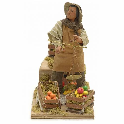 Animated Nativity scene figurine, greengrocer with scales 14 cm s1