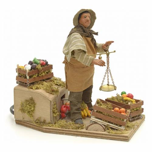 Animated Nativity scene figurine, greengrocer with scales 14 cm s2