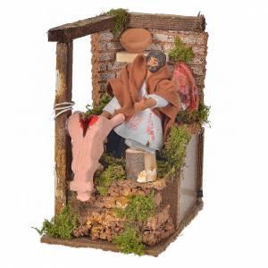 Animated nativity scene figurine, 8cm butcher 14x9cm s1