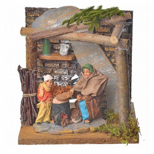 Animated nativity scene figurine, chestnut seller, 10 cm s1