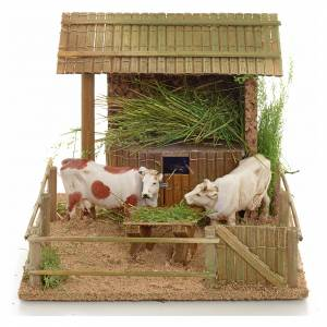 Animated nativity scene figurine, cows in the cattle-shed s1