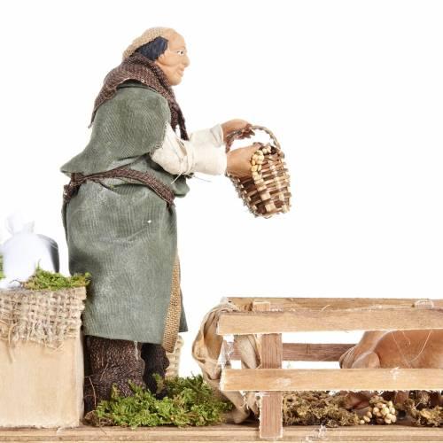 Animated Nativity scene figurine, man feeding pigs 14cm s5