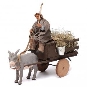 Neapolitan Nativity Scene: Animated nativity scene figurine man on cart in clay 14 cm