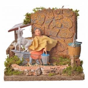 Animated nativity scene figurine, shepherd with sheep, 10 cm s1