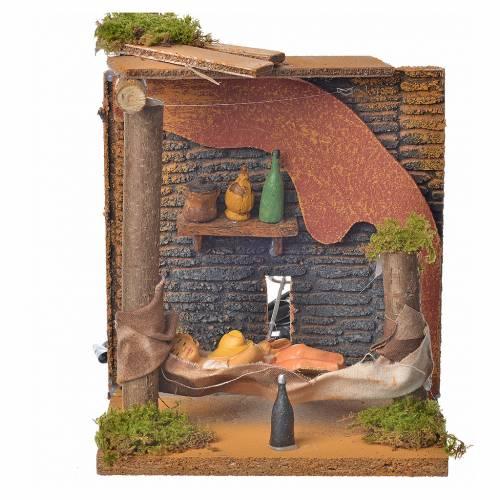 Animated nativity scene figurine, sleeping man, 10 cm s1