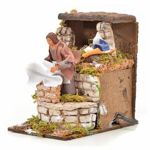 Animated nativity scene figurine, washerwoman 8cm s3